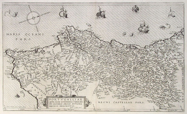 Antique map of Portugal by de Jode