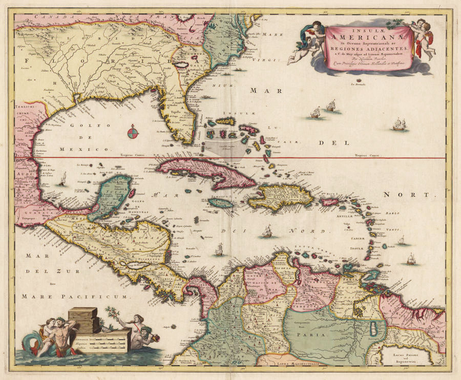 Antique map of West Indies by Visscher