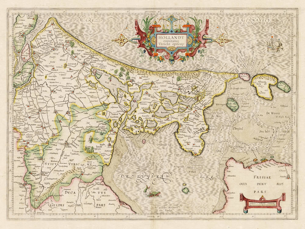 Antique map of Holland by Mercator