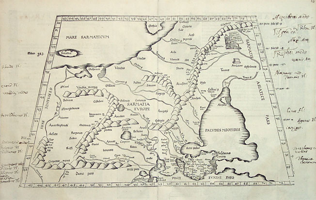 Antique map of Eastern Europe and Russia by Fries/Waldseemüller