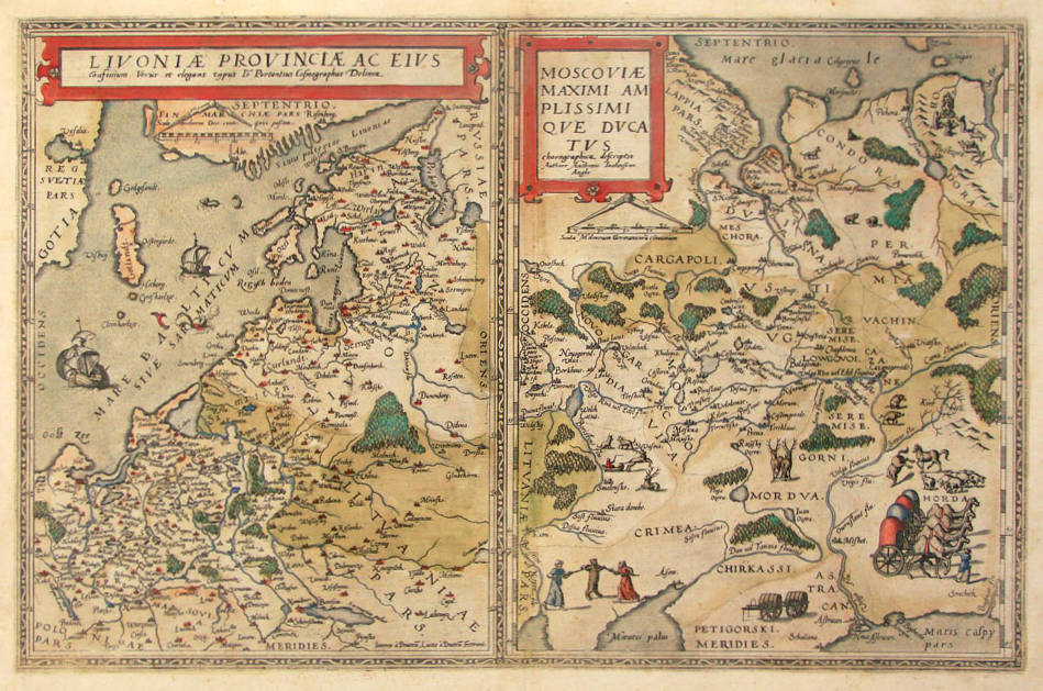 Antique map of Russia and Livonia by de Jode
