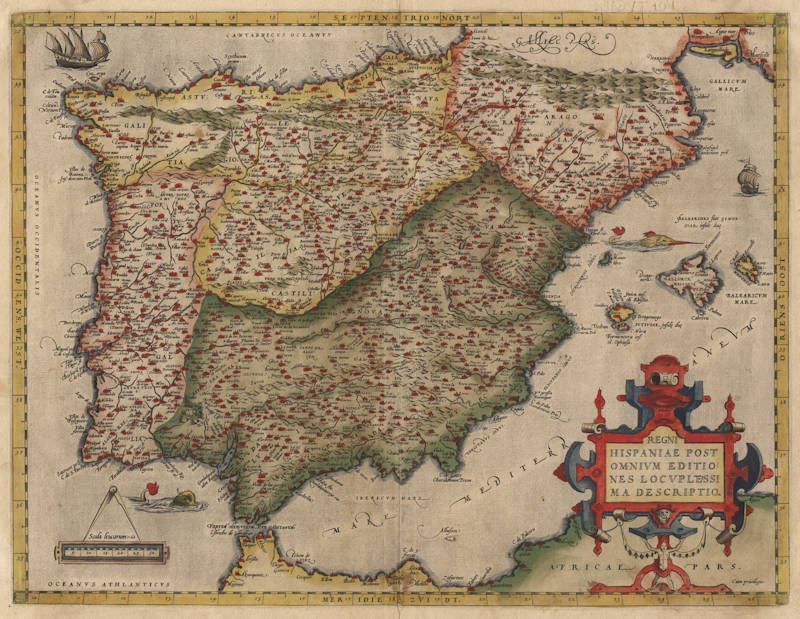 Antique map of Spain by Ortelius