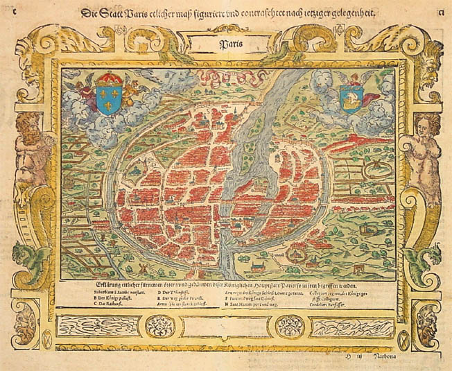 Antique map of Paris by Münster