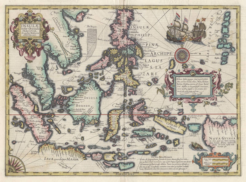 Antique map of South East Asia by Jodocus Hondius