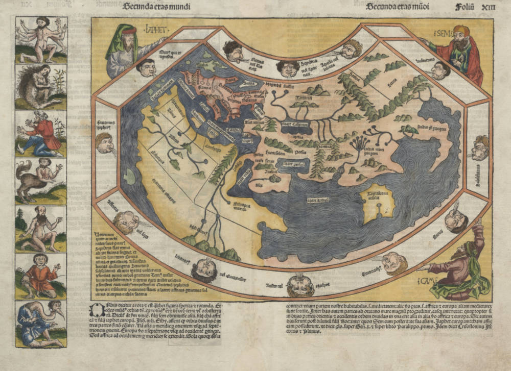 Antique map of the World by Schedel after Ptolemy