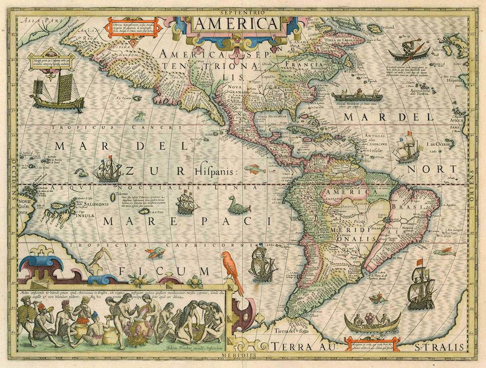 Antique map of America by Hondius
