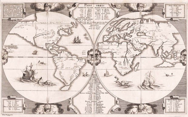 Antique map of the World by Benedictus Arias Montanus