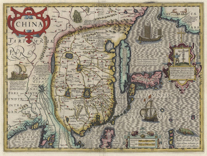 Antique map of China by Hondius