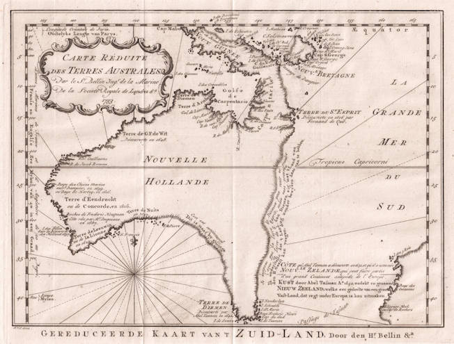 Antique map of Australia by Bellin
