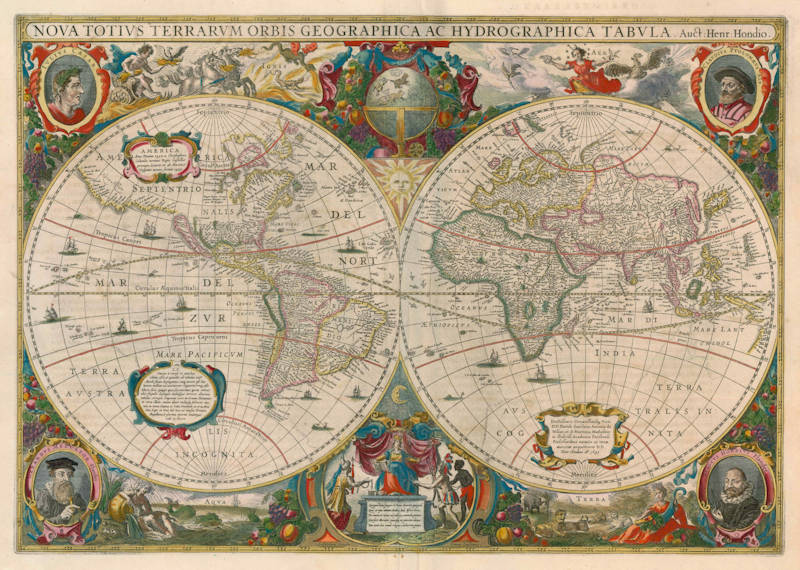 Antique map of the World by Henricus Hondius
