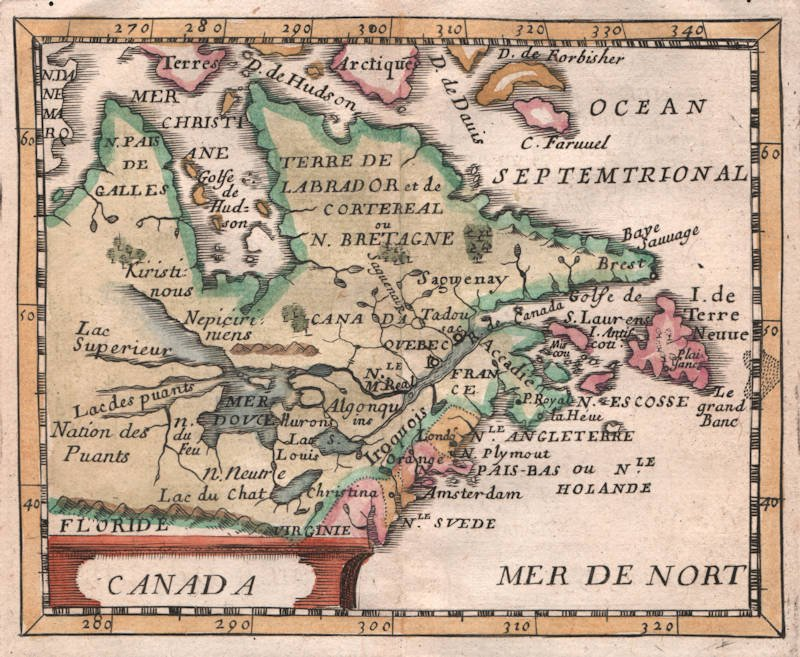 Antique map of Canada by Pierre Du Val