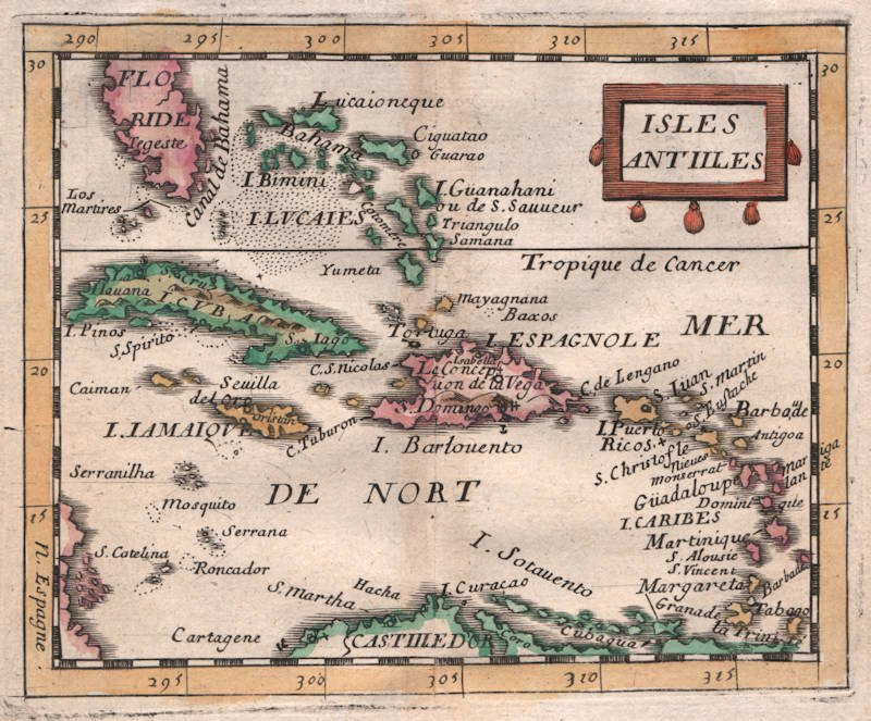 Antique map of West Indies by Pierre Du Val