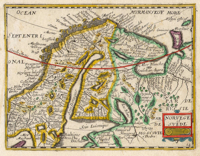 Antique map of Scandinavia by Jollain