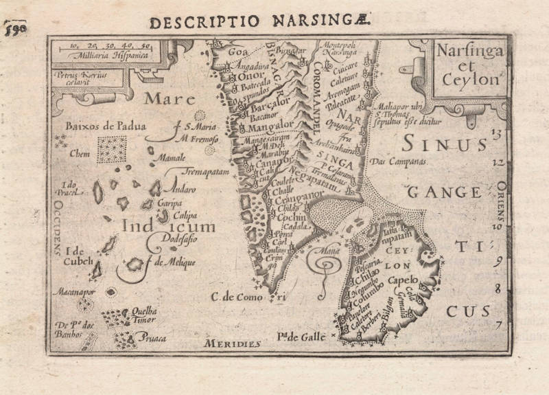 Antique map of India and Ceylon by Langenes