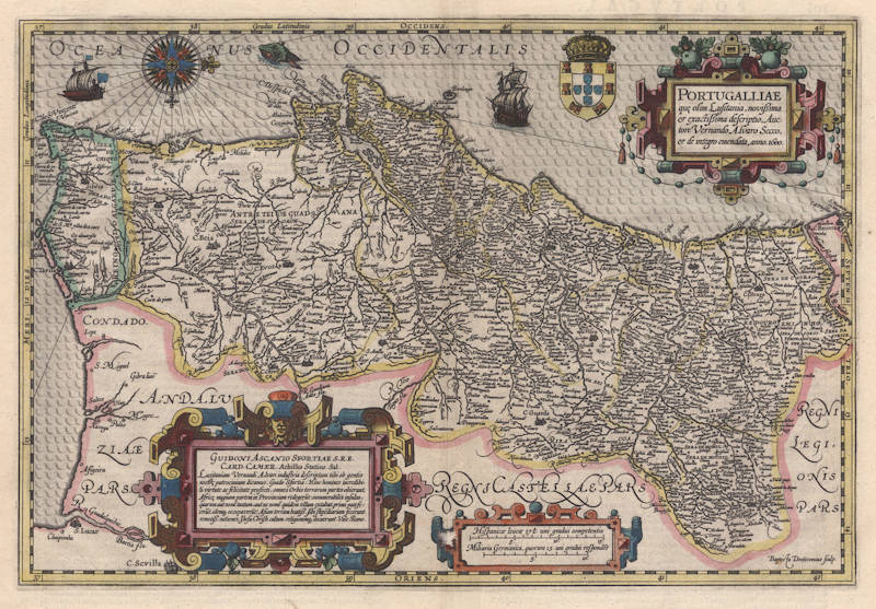 Antique map of Portugal by Hondius