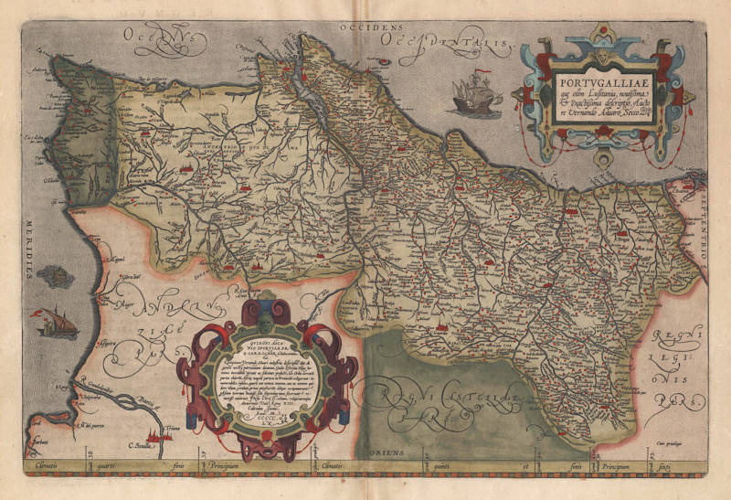 Antique map of Portugal by Ortelius