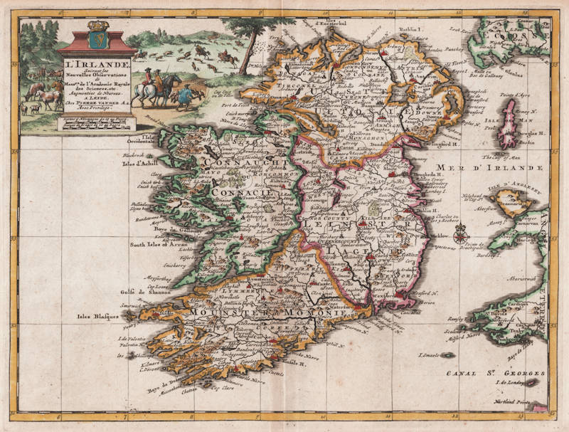 Antique map of Ireland by van der Aa