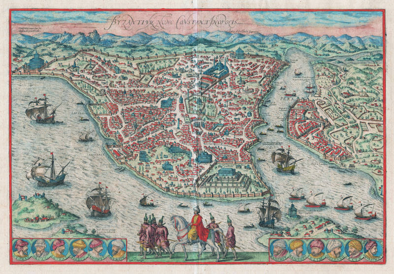 Antique map of Istanbul by Braun and Hogenberg