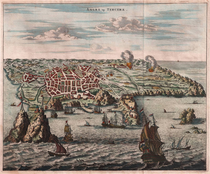 Antique map of Angra/Terceira (Azores) by Montanus/Ogilby