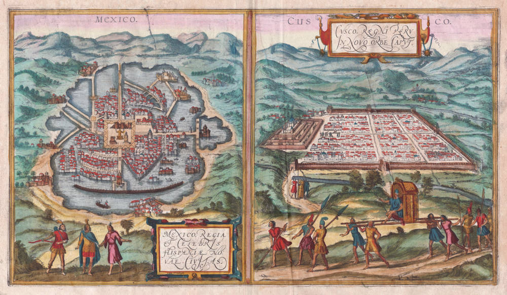 Antique map of Mexico and Cuzco by Braun and Hogenberg