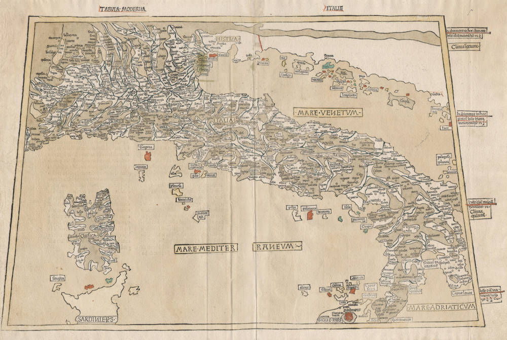 Antique map of Italy by Ulm Ptolemy
