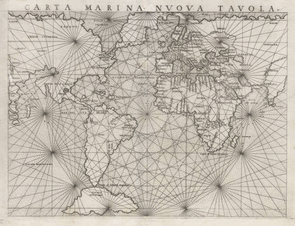 Antique map of the World (Carta Marina) by Ruscelli
