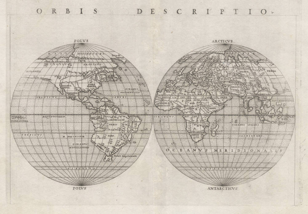Antique map of the World in double hemispheres by Ruscelli