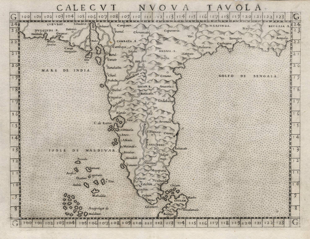 Antique map of India by Ruscelli