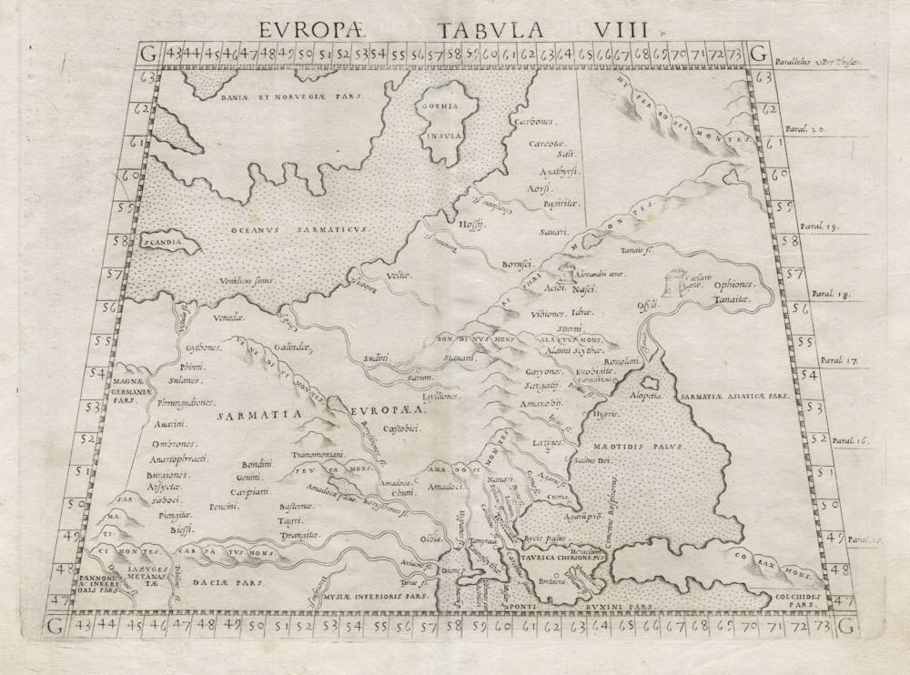 Antique map of Russia by Ruscelli after Ptolemy