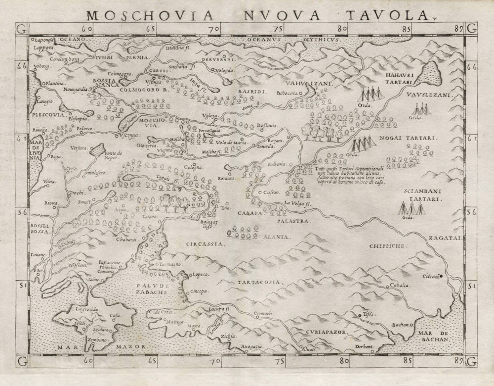 Antique map of Russia by Ruscelli