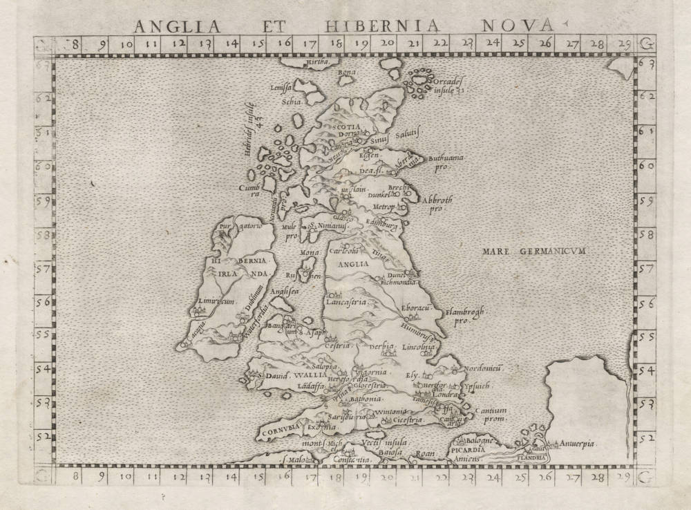 Antique map of British Isles by Ruscelli
