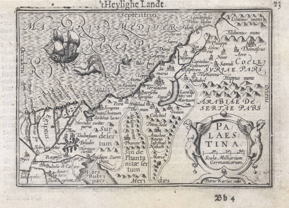 Antique map of the Holy Land by Langenes