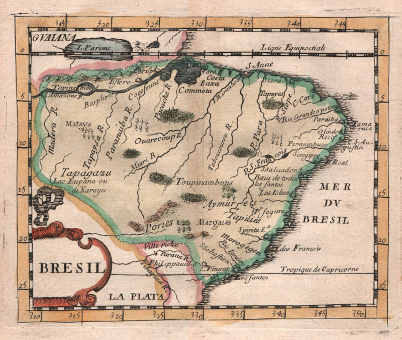 Antique map of Brazil by Pierre Du Val
