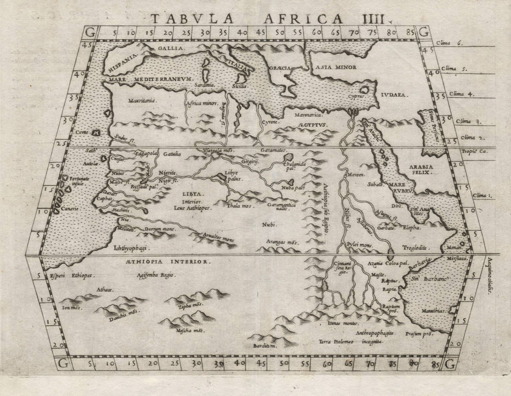 Antique map of Africa by Ruscelli after Ptolemy