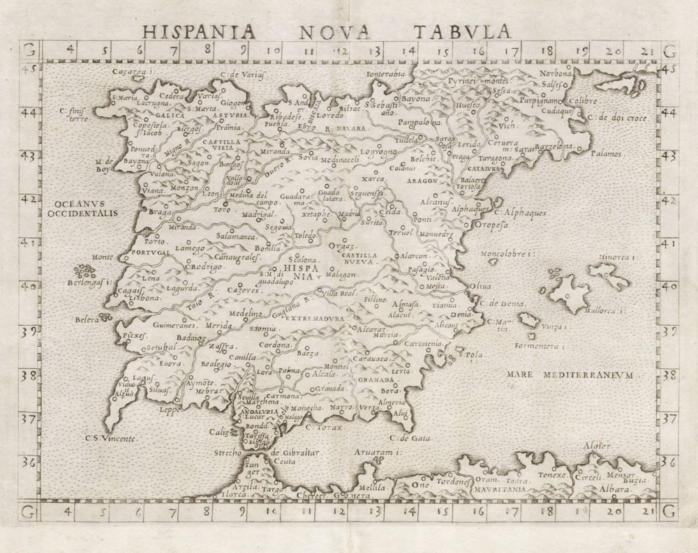 Antique map of Spain by Ruscelli