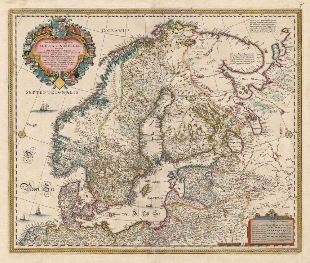 Antique map of Scandinavia by Visscher after Buraeus