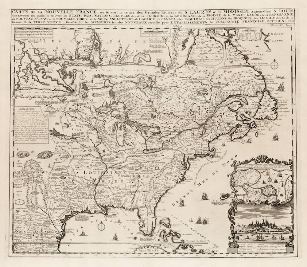 Antique map of New France by Chatelain
