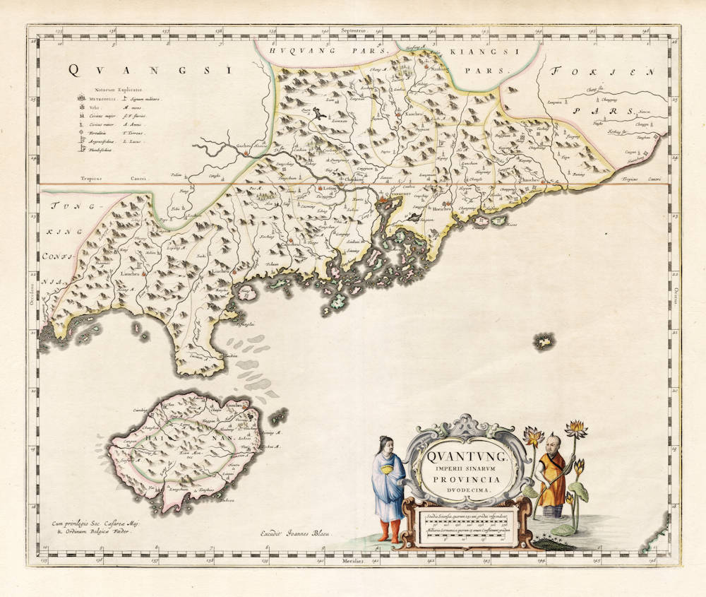 Antique map of Canton province by Blaeu/Martini