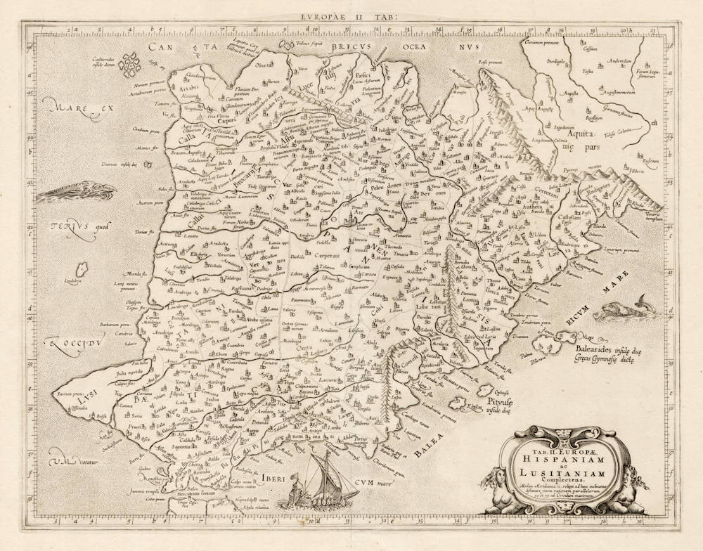Antique map of Spain by Mercator after Ptolemy