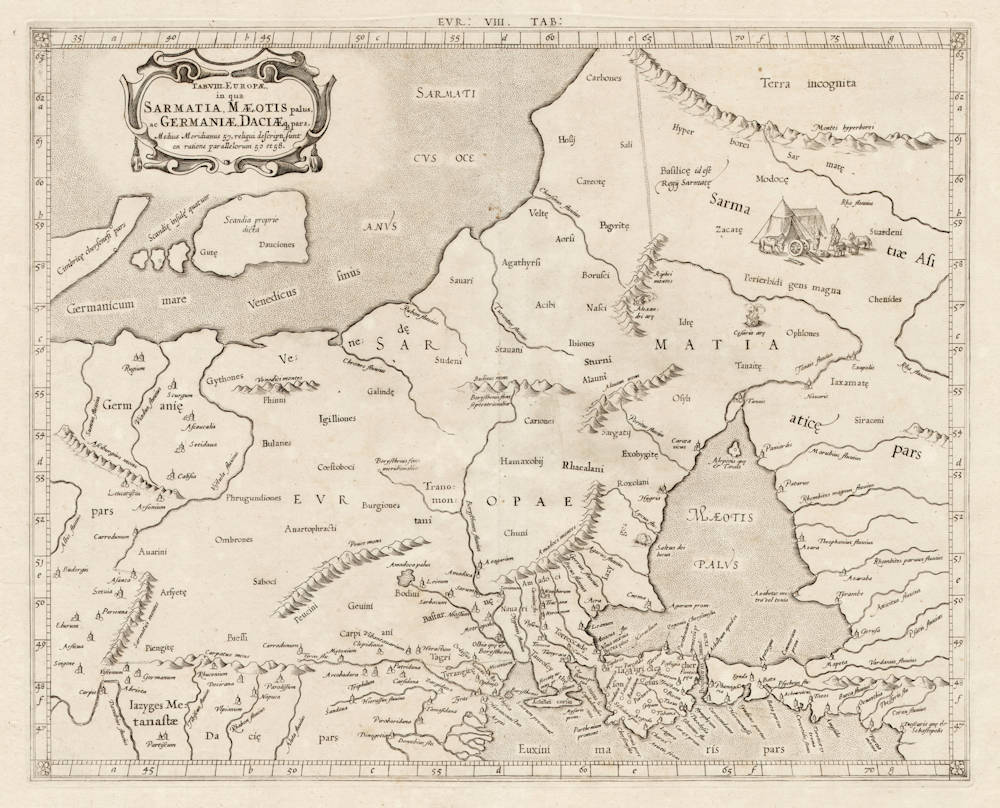 Antique map of Russia by Mercator after Ptolemy